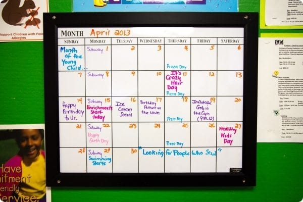 Calendar of activities and classes at the Early Learning Center