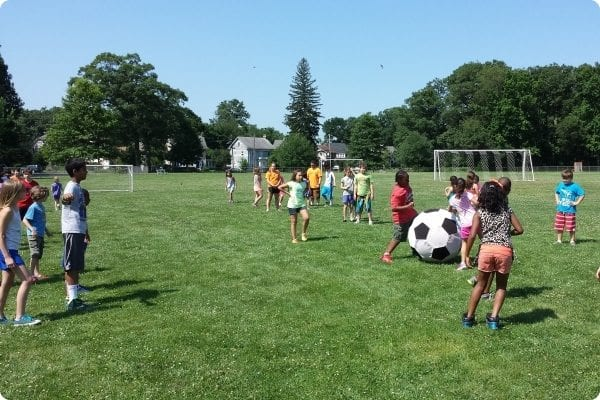 Discovery Campers playing soccer