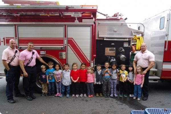 Dsc06615 CompressPreschool students with a Fire truck
