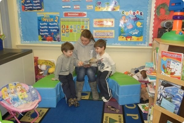 Kids learning at the family center