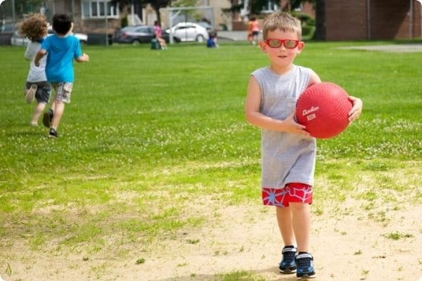 Campers play dodgeball