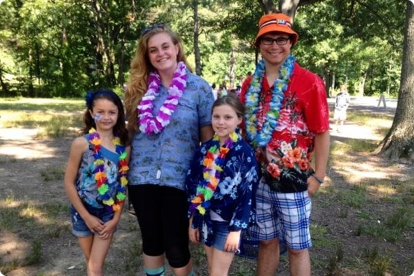 Counselors and Campers have fun at a luau